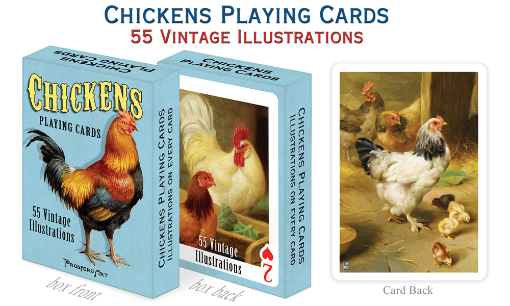Chickens Playing Cards by Prospero Art